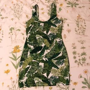 Leaf Print Body-Con Dress